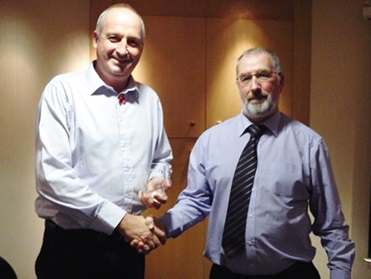 Forth and Tay Branch chair presenting Andy Cathro with Speakers Gift