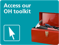 Red toolbox on blue background asking users to access the IOSH Occupational Health toolkit