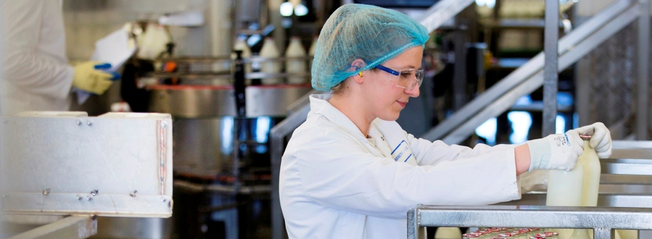 Employee in bottling plant