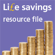 Stacks of coins to represent IOSH Life savings Resource file